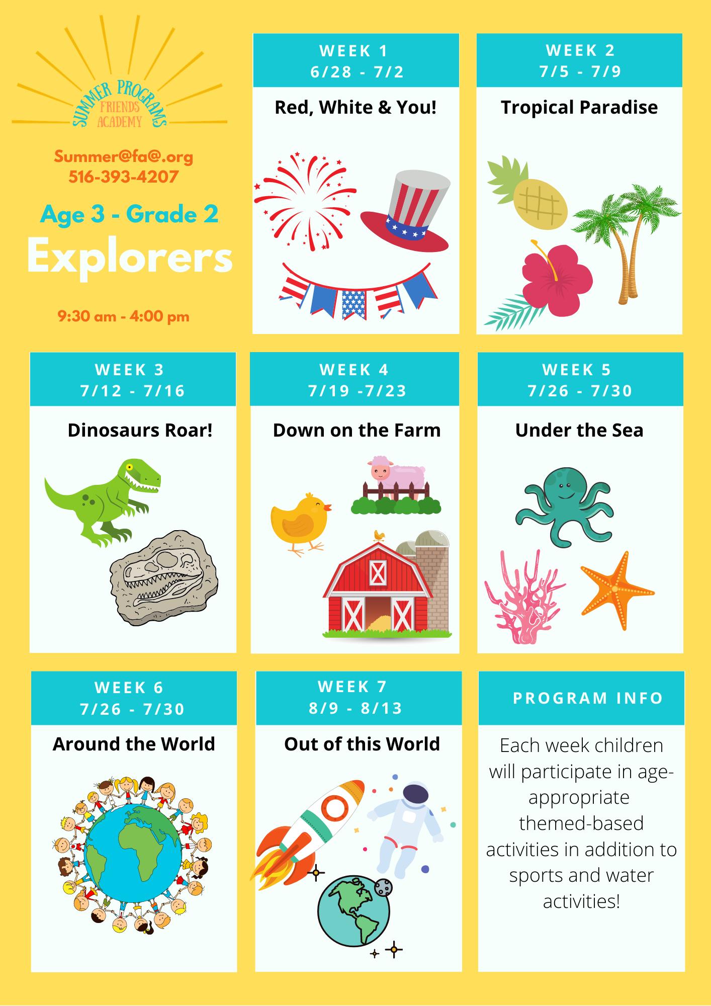 Explorers Summer Camp Schedule Weekly Overview