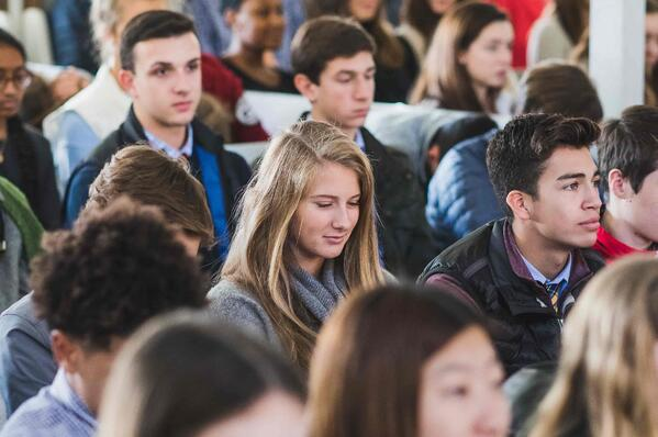 students congregated for quaker meeting
